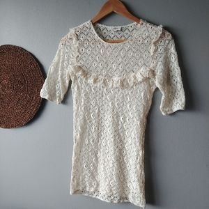 Aritzia Wilfred lace blouse top size S